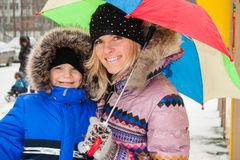 Mother And Son Outdoors Winter Stock Photos