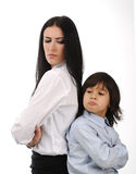 Mother And Son Standing Back To Back Royalty Free Stock Photos