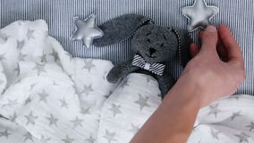 Mother arranges the stars stock video