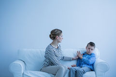 Mother and autistic son Royalty Free Stock Image