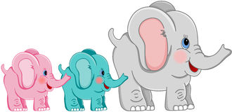 Mother and babies elephants stock illustration