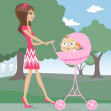 Mother and baby. Cartoon character and baby illustration vector Royalty Free Stock Photos