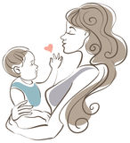 Mother and baby stock illustration