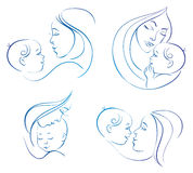 Mother with baby. Set of linear silhouette illustrations Royalty Free Stock Image