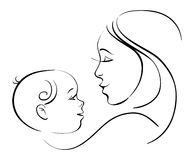 Mother and baby. Linear black and white illustration Stock Photos