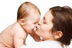 Mother with baby. On white Royalty Free Stock Photo