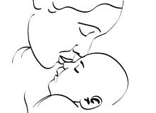Mother and baby. Illustration of a mother kissing her baby Royalty Free Stock Photography