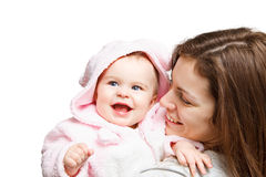 Mother with baby. On white Royalty Free Stock Photography