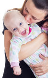 Mother and baby. Mother holding cute baby girl Stock Images