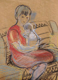 Mother and baby. The woman with the child, sitting on a chair Stock Images