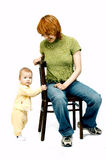Mother and baby. On white royalty free stock photos