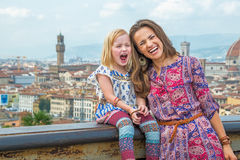 Mother and baby against panoramic view of florence Royalty Free Stock Photo