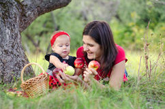 Mother, baby and apples. Mom and her little daughter picking apples in the garden royalty free stock images