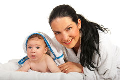 Mother with baby after bath Royalty Free Stock Photos
