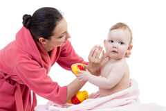 Mother and baby after bathing royalty free stock images