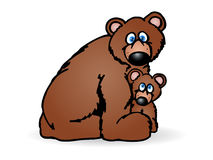 Mother and baby bear Stock Images