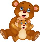 Mother and baby bear cartoon Stock Images