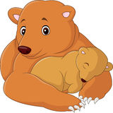 Mother and baby bear cartoon. Illustration of Mother and baby bear cartoon Stock Photos
