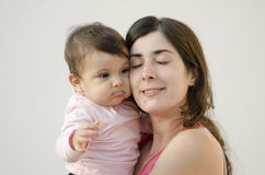 Mother and baby beauty hug Royalty Free Stock Photo