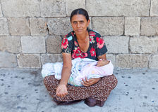 Mother and Baby beggar, in the streets of Athens, Greece Stock Photography
