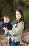 Mother & baby boy. Native American mother with her mixed race son Stock Photos