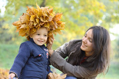 Mother and Baby Boy. Baby boy with mother play in park Royalty Free Stock Photography