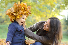 Mother and Baby Boy. Baby boy with mother play in park Royalty Free Stock Photos