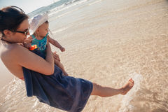 Mother And Baby Boy At The Beach Royalty Free Stock Images