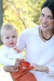 Mother and Baby Boy with Butterfly - Fall Theme Stock Images