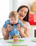Mother With Baby Boy Celebrating Birthday At Home Royalty Free Stock Photography