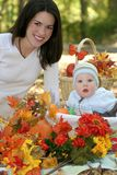 Mother and Baby Boy  - Fall Theme Royalty Free Stock Images