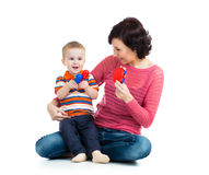 Mother and kid boy having fun Royalty Free Stock Images