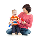 Mother and baby boy play Royalty Free Stock Images