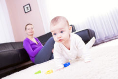 Mother and baby boy to play. Stock Photography
