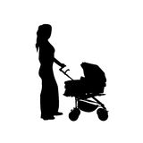 Mother with baby buggy vector. Vector illustration as silhouette of mother carrying her child in a baby buggy stock illustration