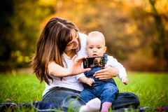 Mother and baby - capturing moments Royalty Free Stock Photos