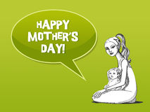 Mother with baby card. Happy mother's day card with baby Stock Image