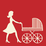 Mother with baby carriage. Royalty Free Stock Photo