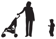 mother with baby and carriage  Stock Photography