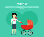 Mother with a Baby Carriage Banner. Design flat. Parent mother walking with baby in the baby carriage. Mom young happy with toddler, female and motherhood, love Stock Photo