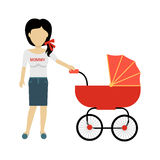 Mother with a Baby Carriage Banner. Design flat. Parent mother walking with baby in the baby carriage. Mom young happy with toddler, female and motherhood, love Stock Photography
