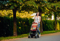 Mother with baby carriage in the park Stock Photos