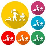 Mother with baby carriage walking with dog icon or logo, color set with long shadow vector illustration