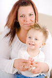 Mother and baby clapping Royalty Free Stock Photos