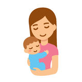 Mother with baby. Cute cartoon mother and baby embrace. Young woman holding child. Isolated vector illustration stock illustration