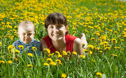 Mother with  baby in dandelion meadow Stock Images