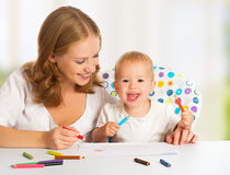 Mother and baby draw color pencil Royalty Free Stock Image
