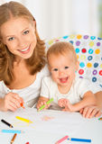 Mother and baby draw color pencil Royalty Free Stock Photo