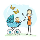 Mother and baby. Editable vector illustration Stock Images