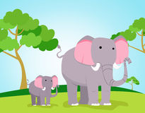 Mother and baby elephant cartoon Stock Photography
